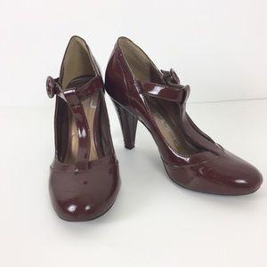 Burgundy T-strap Heels Size 5.5
